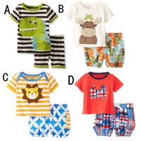 2015 New Summer Baby Dinosaurs Clothing set Children's Cartoon Suits Boys T-shirt + pants Girls Sets Kids Casual Clothes
