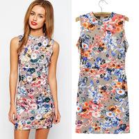 girl dress short spring summer new Slim flowers sleeveless dress women fashion casual