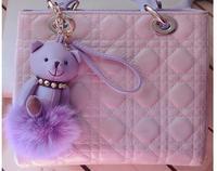 2015 metal bear  key chain  multi-color  keychain  plush keyring Genuine Leather fox fur ball   bag hanging  free shipping