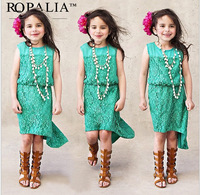 2015 girls dress The new fashion Bud silk joining together green dress for 2-8years girls free shipping