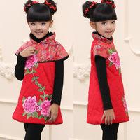 Child tang suit winter baby costume cheongsam wadded jacket dress thermal female child guzheng costume