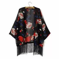 2015 Top Design Women Elegant Chiffon Kimono Blouse Floral Printed Kimono Cardigans With Tassel Decorated Shirt  GD0141