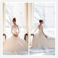 vestido de noiva manga longa 2015 Noble Ivory Sheer Lace Sweetheart Bridal Wedding Dresses Free Shipping Muslim Bride Gown