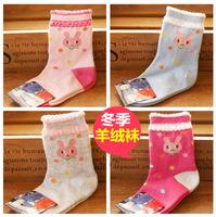 FREE SHIPPING Children winter rabbit wool socks thickening cartoon baby socks small kid's socks