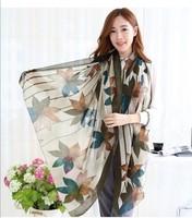 WJ171 Woman 2015 Scarf Long Arab Hijab Cotton Lady Leaves Print Superwide Voile Scarves8 Colors Fashion Shawl Wrap180cm*90cm
