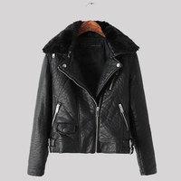 High Quality European Style Winter Fur Collar Leather Jacket Womens Zipper Black Biker Jackets Lady Slim Long Sleeve Cool Coat
