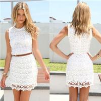 White lace dress 2014 new arrival women summer dress sleeveless cute casual dresses Vestidos roupas femininas