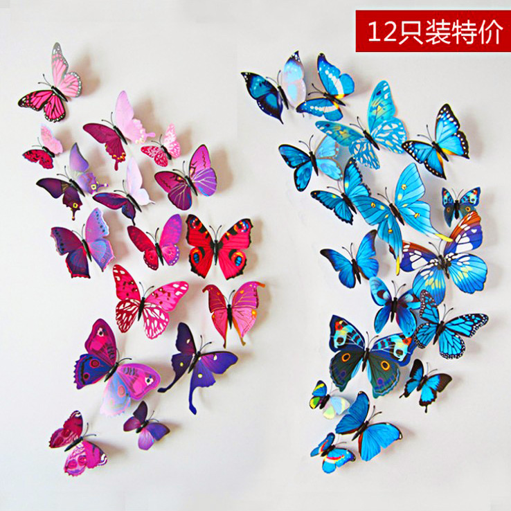 Three-dimensional wall stickers / color emulation 3D butterfly stickers / backdrop stickers refrigerator / 12 Set(China (Mainland))