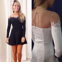 2015 new Fashion black,white color o-neck Women's Short design Elegant Party evening Prom Dress Z0033