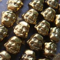 2015 New! Hot Sale Free shipping 60pcs/lot 8mm Gold Hematite Stone Double Buddha Heads Loose Beads Wholesale