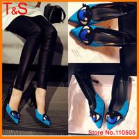 Hot Sale Novelty Thin High Heels Sheepskin Pointed Toe Cone Heels Fashion Genuine Leather Pumps Shoes TAA08