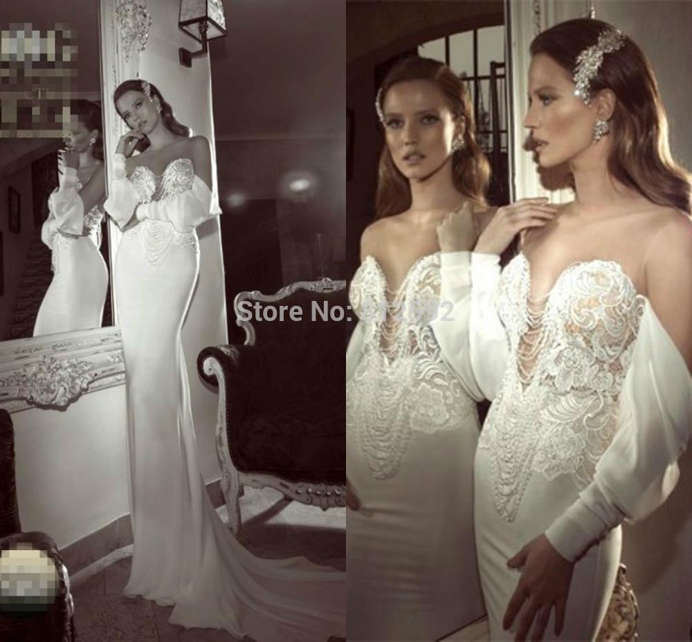 Romantic Off Shoulder Sheer Sweetheart Boat Neck Long Sleeve Lace Beading Lebanon Mermaid Wedding Dresses 2015 Vestido De Noiva(China (Mainland))