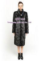 BG70811 Women's Genuine Mink Fur Coat  Stand Collar Slanted  Stripes  Long Style Ladies' Winter Warm Fashion Choice