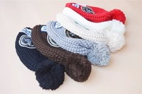 Winter wool hat female models tide with three warm hat knitted fabric labels