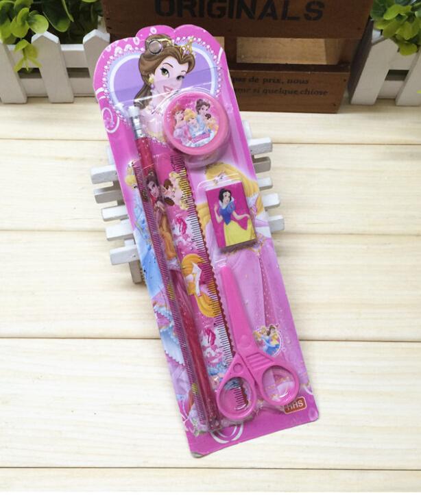 Free shipping New 12sets princess Stationery Set pencil/scissor/ruler/rubber Cartoon Children Stationery kid gift btzh45(China (Mainland))
