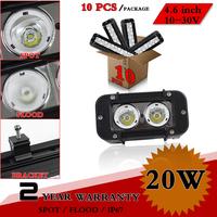 "10pcs 4.6"" inch 20W LED Work Light Bar 12V 24V IP67 Fog Light For Offroad Truck Tractor ATV Led Worklights Save on 27W 36W 60W"