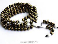 BRO545  108 Black Agate Golden HUM Mantras Prayer Beads Mediation Mala Necklace 8mm Amulet Bracelets Free Ship