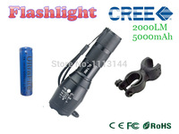 For E17 CREE XM-L T6 2000Lumens cree led Torch Zoomable cree LED Flashlight Torch light with one 18650 5000mAh battery a Holder