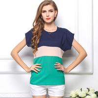 European roupas femininas women's Plus Size chiffon blouse short-sleeved t-shirt solid color chiffon shirt women clothing CS117