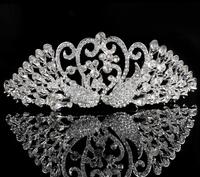 animal swan design crown queen rhinestone crystal tiara lovely party/bridal wedding crown jewelry design for lady/girls tiara