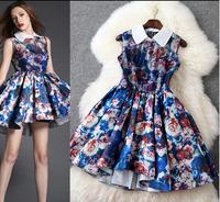 casual dress European and American fashion printing organza bud dress sweet vest dress brand designer party dresses