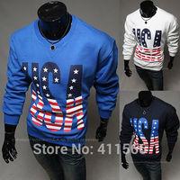 Free Shipping Men's Korean New Stylish 2015 USA Word Printing Sport Casual Round Collar Slim Fit Pullover Sweatshirt Coat  Tops