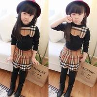 2015 New Children Girls Summer Clothing Sets Brand Plaid Long Sleeve Kids Apparel 2pcs suits T-shirt+Skirt Legging Pantiskirt