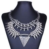 Vintage Necklace Jewelry Gothic Punk National Style Metal Silver Rivet Pendant  Statement Necklaces For Women  DFX-772
