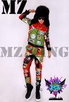S-4XL ! Men's fashion DJ nightclub singer right Zhi-Long GD colorful stitching cloth paste leather jacket coat costumes clothing