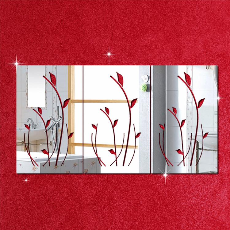 Big Size 600mm*300mm Decorative Mirrors 3pcs/set Flowers Crystal Mirror  Wall Sticker Wedding Decoration