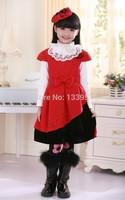 Wholesale kids girl Red Princess Cotton Dress High Quality Short Sleeve Baby Dress Beautiful Free Shipping DA601
