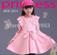Wholesale kids girl Red Color Cotton Dress High Quality Full Sleeve Tutu Dress Free Shipping DA604