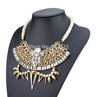 White Hand-made Chunky Rope Geometric Jewelry Layers Link Chain Rhinestones Choker Bib Statement Necklace Luxury accessories