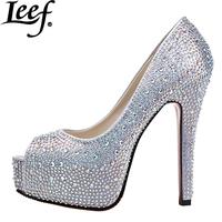 2015 Women Peep Toe High Heels Prom Wedding Shoes Lady Crystal Platforms Silver Glitter Rhinestone High Heel Popular Party Pumps