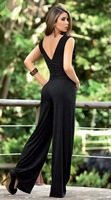 sexy women's black stretch sleeveless V-neck jumpsuit rompers  bodice free shipping 5006