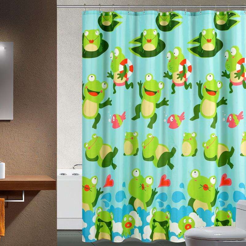 Frog pattern print terylene cloth shower curtain waterproof lead wire