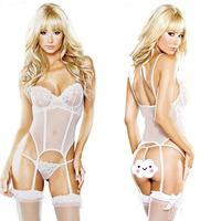 Women's Sexy Lingerie Lace Dress Underwear White Babydoll Sleepwear+G-string New