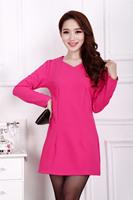 2015 Spring Vestido Women Dress V-Neck Long Sleeve Slim A-Line Dress Plus Size 4XL Solid OL Mini Dress Casual Dress 1598