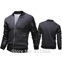 Men's Stylish Synthetic Leather Sleeve Splice Sport Jackets Slim Fit Business Casual Baseball Uniform Short Coats Free Shipping