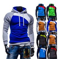 New Winter Leisure Men's Hoodies Patchwork colors Napping Fashion Men's Sweatshirts Hooded men coats 9 colors