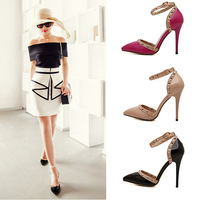 2015 New Spell Color Rivets Hollow Tip Pointed Foot Ring Buckle With Heels women's shoes B-X-0025
