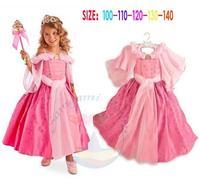 Retail,New 2015 Brand Girl Cartoon Princess Sofia Dress Birthday Party Kids Wear Summer Wedding Dress Pink