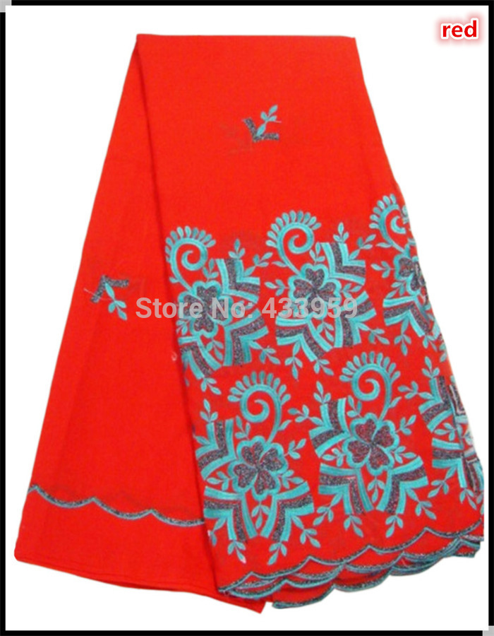 Unique two colors embroidered lucky flower design African lace fabric,latest high quality big red background swiss voile lace(China (Mainland))