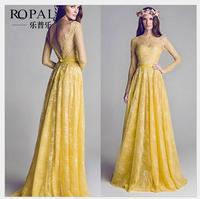 Ms clothes   Elegant and generous celebrities On the back Big v-neck eyelash Bud silk dress