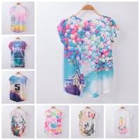 [Magic] 2015 Top Hot ! Women's new tshirts short batwing sleeve cotton T-shirt Loose thin t shirt printed tee 20models free ship