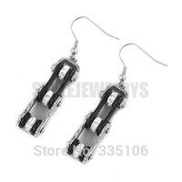 Free Shipping! Black & Silver Bicycle Motor Earring Stainless Steel Jewelry Rhinestone Motorcycles Biker Earring SJE370123L