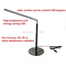 Eye-protection Dimmer Bright-LEDs New 24 LED Bulbs Office Desk Lamp Table Lighting Toughened Glass Base Black Base AC 110V-240V(China (Mainland))