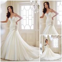 2015 New Design Sweetheart White Wedding Dress With Beaded Elegant Back Lace Up Mermaid Bridal Dress Long Court Train