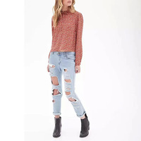 2015 New Ladies Spring Cotton Blouse Small Flower Printed Shirt Bowknot Decorated Tops Long Sleeve Cotton Sweet Shirt GD0128