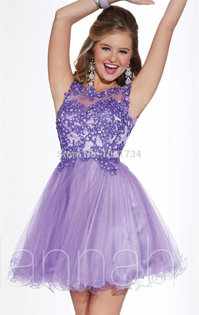 New Arrival Lavender Cocktail Dress 2015 Top Lace Sheer Neck Applique Beaded Party Dress A Line Organza Vestidos De Festa BC151(China (Mainland))